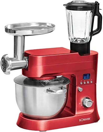 Boman KM 1395 CBRouge - Robot de cocina multifunción (1200 W, pantalla LCD, 10 niveles de velocidad), color rojo: Amazon.es: Hogar