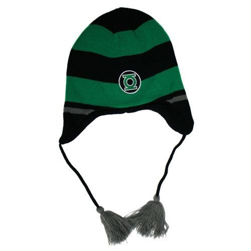 Green Lantern Striped Peruvian Laplander Knit Cap (Knit Peruvian Laplander)
