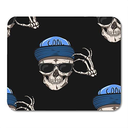 Semtomn Gaming Mouse Pad Pattern Skull Glasses and Blue Cap Gothic Metal Black Bone 9.5