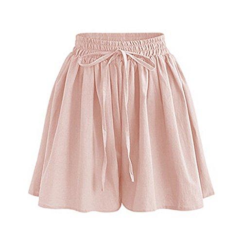 Women's Summer High Elastic Waist Drawstring Wide Leg Chiffon Culottes Shorts Pink Tag 5XL-US 16