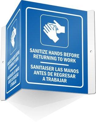 Trabajar Sign - Sanitize Hands Before Returning to Work - Sanitaiser Las Manos Antes De Regresar A Trabajar, Projecting Aluminum Sign, 5