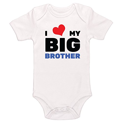 Kinacle I Love My Big Brother Baby Bodysuit (0-3 Months, White) (I Love My Brothers)