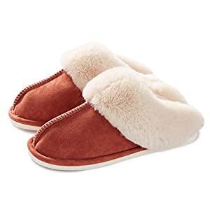 Womens Slippers Memory Foam Fluffy Warm Non-Slip Comfortable Slip-on House Shoes Plush Indoor & Outdoor Winter