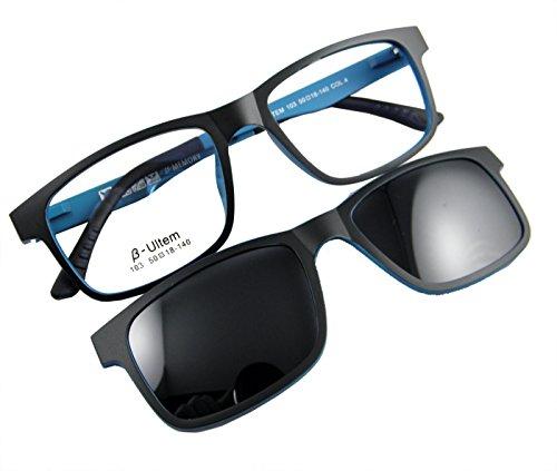 Circleperson Men women Eyeglass frame magnetic glasses polarized clip on 50-18 (Black/blue, Polarized gray clip - Magnetic Eyeglasses On Clip