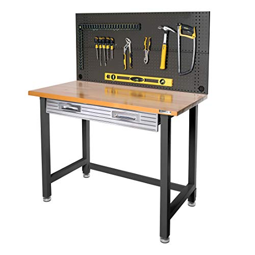 Seville Classics UHD20168B UltraHD Commercial Heavy-Duty Workcenter with Steel Pegboard Satin Graphite