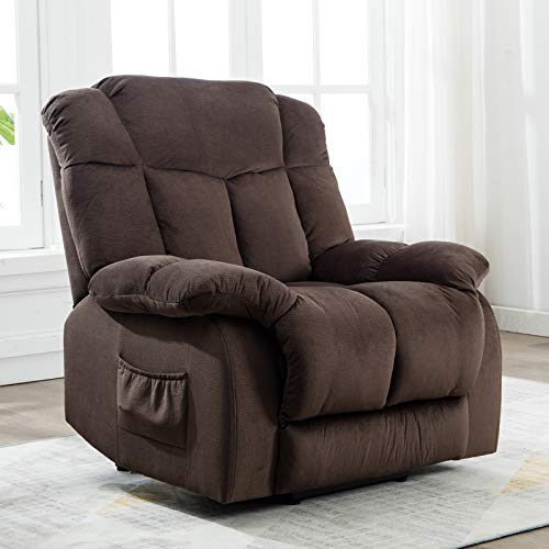 ANJ Power Lift Chair Recliner – Antiskid Fabric Living Room Chair with Overstuffed Design (Dark Brown)