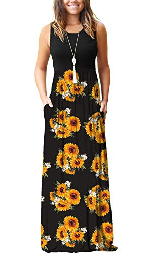AUSELILY Women's Summer Sleeveless Loose Plain Maxi Dress Casual Long Dress with Pockets (L, - Wrap Sunflower