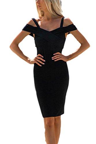 Backless OL Midi Cuello Mangas Mujer Black En Delgado con Casual Casquillo V Sevozimda Lápiz Vestido La xOnz66