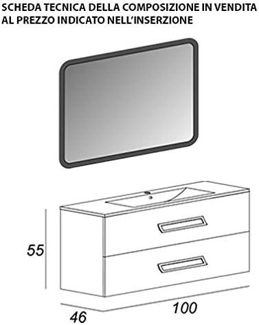 Mueble baño suspendido moderno Boston suspendido gris oscuro vetas, tamaño 100 cm, con espejo de LED y lavabo: Amazon.es: Hogar