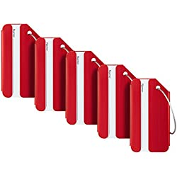 Travelambo Luggage Tags & Bag Tags Stainless Steel Aluminum Various Colors (red 5 pcs set)