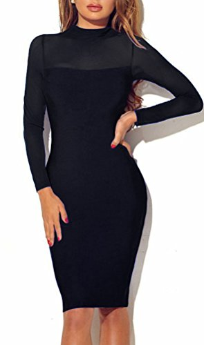 Lady Long Sleeve Turtleneck Bodycon Sexy Slim Sheer Bandage Midi Club Party Dress