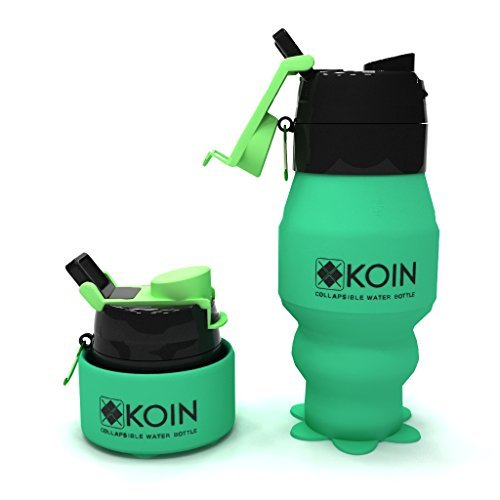 Koin Collapsible Silicone Water Bottles - Foldable Leak Proof Canteen w/ Carabiner - Travel Sports Outdoors Easy To Clean and Store Portable Flask - FDA Approved, BPA Free, Non Toxic, 18fl oz ()