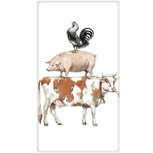 Mary Lake-Thompson Stacked Farm Animals Cotton Flour Sack Dish Towel