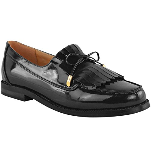Fashion Thirsty Womens Loafer Flat Shoes Office Work Dress Fringe Bow School Size