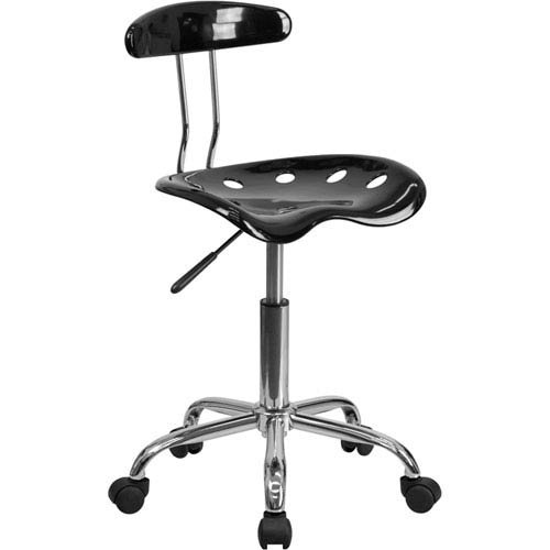 Parkside Vibrant Black and Chrome Task Chair with Tractor Seat