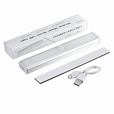 Recargable stick-sur partout Wireless Motion Sensor 10LED Gabinete noche Light Bar con Banda magn ¨ ¦ Tique, blanco ZN