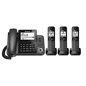 Cordless Telephones, Black Panasonic 3-handset Office Home Landline Telephone
