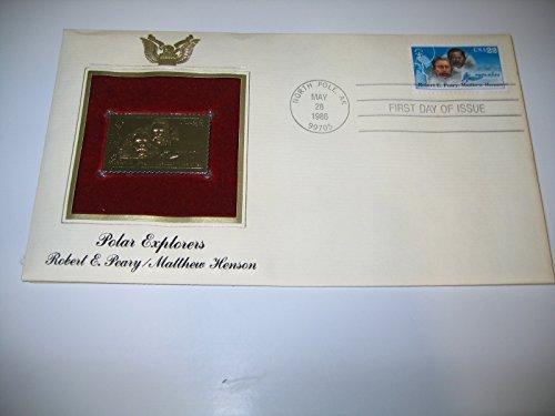 (Polar Express Robert E Peary Matthew Henson 22kt Gold Stamp replica Golden Cover)