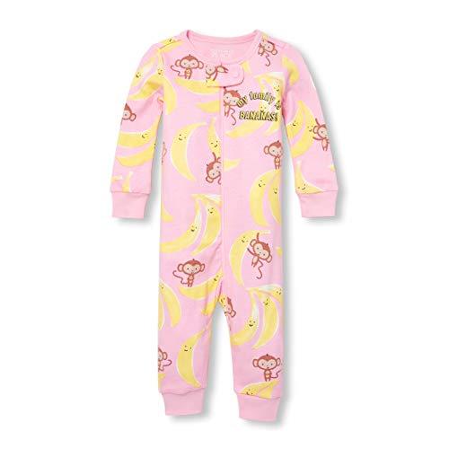 The Children's Place Baby Girls' Novelty Printed One Piece Long Sleeve Sleeper, WHISPERPNK, 5T (Toddler Monkey Pajamas)