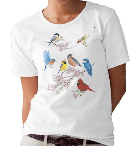 (Songbirds and Cherry Blossoms T-Shirt/tee by Valerie Pfeiffer - XX-Large)