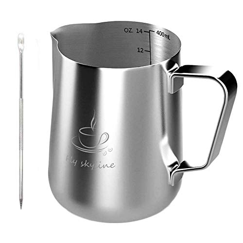 Milk Frothing Pitcher - Stainless Steel Measurement Inside the frothing Cup with Latt Art Pen