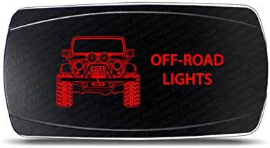 Rocker Switch Jeep Wrangler JK Rear Lights Symbol Horizontal Red LED