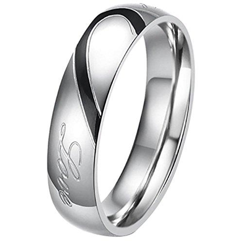 His or Hers (Priced Separate) Real Love Heart Stainless Steel Band Ring Promise Ring Valentine Love Couples Wedding Engagement Men Size 10