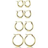 ORAZIO 4 Pairs Stainless Steel Hoop Earrings Set Cute Huggie Earrings for Women,10MM-20MM