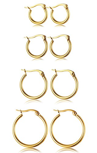 ORAZIO 4 Pairs Stainless Steel Hoop Earrings Set Cute Huggie Earrings for (Gold Tone Huggie Earrings)