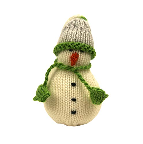 Global Handmade Hope Snowman Ornament with Matching Green and Gray Hat and Scarf Set – Adorable Carrot Nose – Soft Hand…