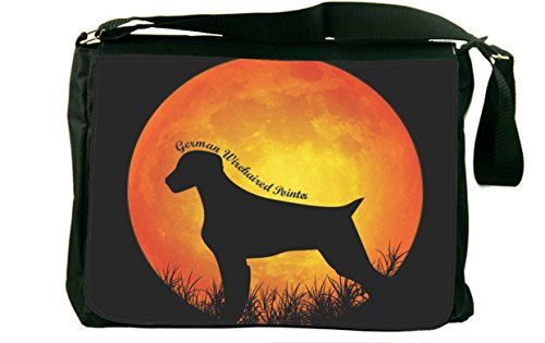 Rikki Knight German Wirehaired Pointer Dog Silhouette By Moon Messenger Bag School Bag