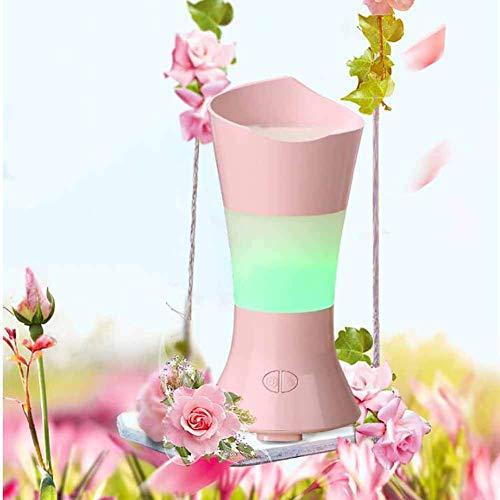 FOHKJMML Night Light Dust Collector Flower Fairy Aromatherapy Machine Desktop Decoration Vase Romantic Colorful Night Light Air Purification Aroma Humidification Vacuum Cleaner, Pink