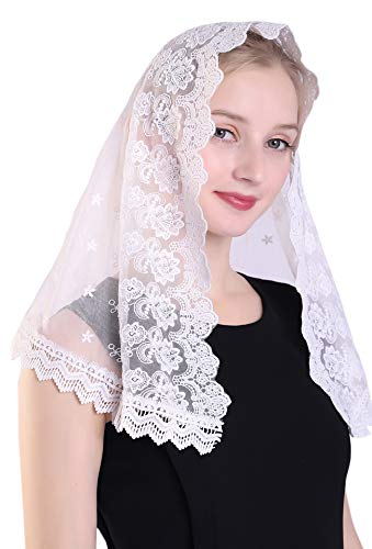 White Embroidered Lace Chapel Veil Mantilla Simplicity Style