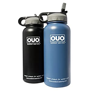 Outdoor Use Only's 32oz. Stainless Steel, Double Wall Vacuum Insulated, Wide Mouth with Straw Water Bottle (Black)