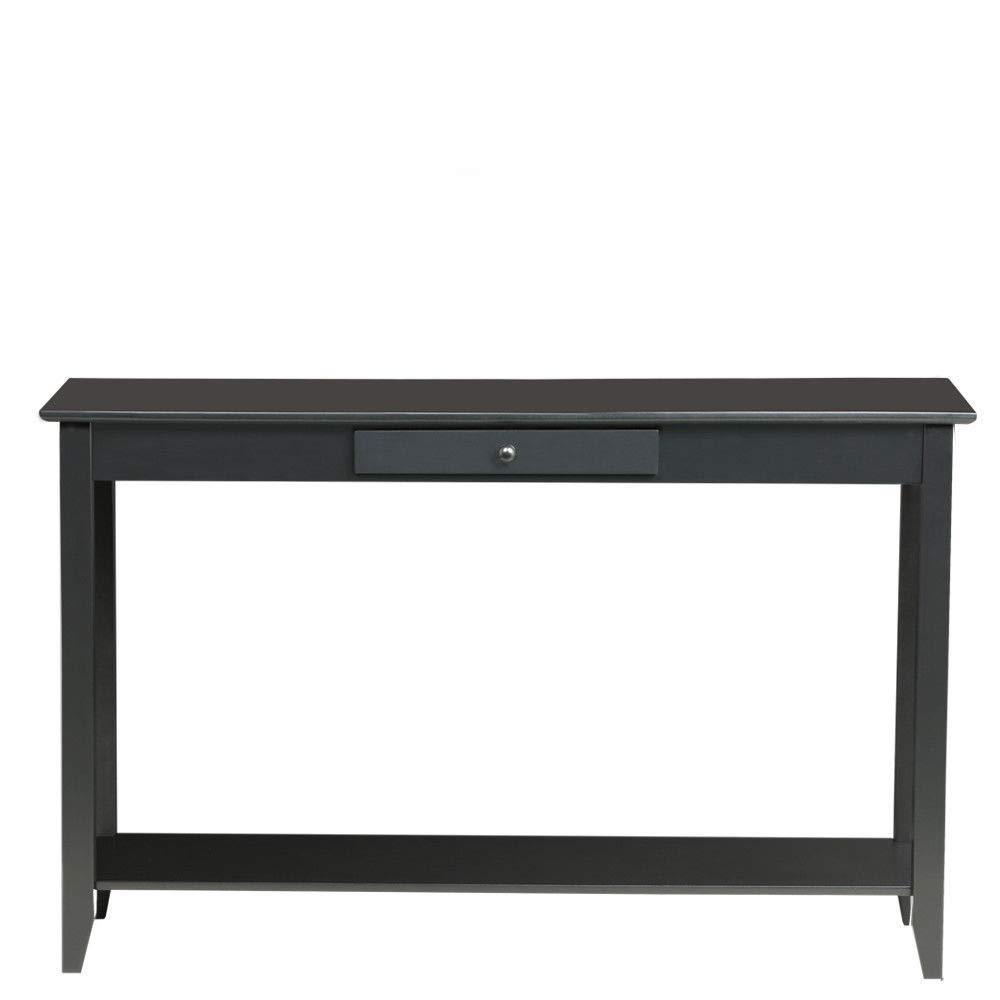 Black 2-Tier MDF Console Table w/Drawer & Bottom Shelf with Ebook