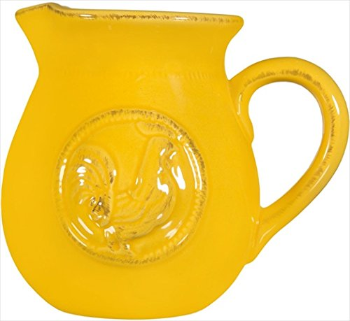 Decorative Classic Ceramic Medallion Rooster Yellow Small Water Juice Milk .75 Quart Pitcher Beverage Dispenser Jar Jug Cooler Vase - By Home Essentials & Beyond(Small, Yellow-Medallion Rooster)