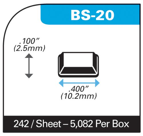 Self-Stick Square Rubber Bumper Pads for Furniture and Electronics .400'' inches (10.2 mm) x .100'' inches (2.5 mm) - 5,082 pcs/box - BS20 Clear by Bumper Specialties, Inc. (Image #1)