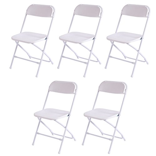 New Plastic Folding Chairs Stackable Wedding Party Event Commercial White -Set of 5