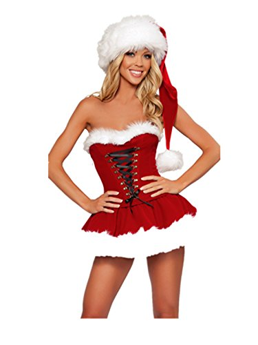 [Leright Women's Christmas Costumes Strapless Dress Holiday Lingerie Santa Suit, Red, One Size fits for] (Womens Costumes)
