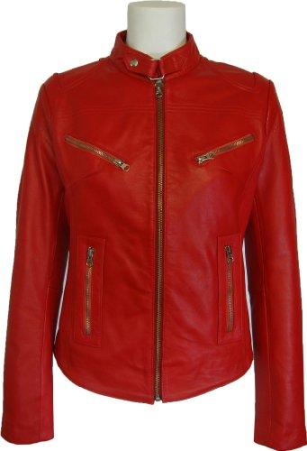 UNICORN Femmes Réel en cuir Veste Rouge #Z2