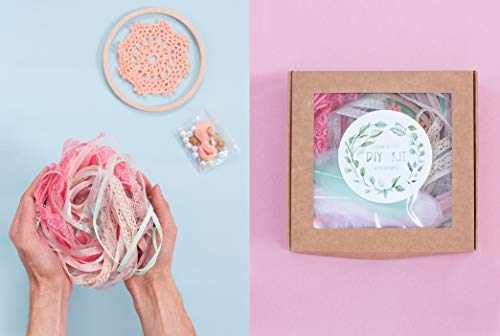 DIY Dream catcher kit Make Your Own Wall hanging Doily Dreamcatcher Craft Set for Girls Peach Mint Birthday Crafting Party Favor Diam 6.2 (15.5 cm) from WORLDREAMER
