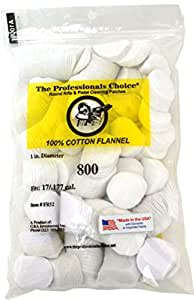 The Professional's Choice Pistol/Rifle Cotton Flannel 1-Inch Round Gun Cleaning Patches (800-Pack), .17/.177-Calibre