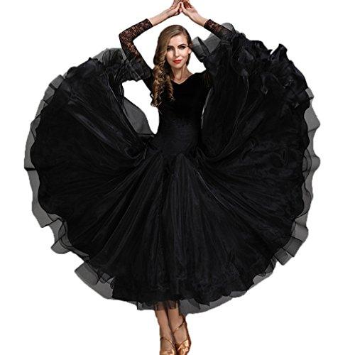 Di Nazionale Cha Gonna Black Cha s Wqwlf Moderna Per Xl Da Donna Standard Velluto Prestazione Ballo Danza Abito Valzer qgxv7A