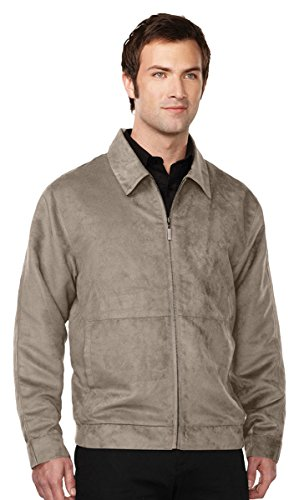 Tri-Mountain Men's Lightweight Microsuede Full Zip Shell Jacket, Light Taupe Small