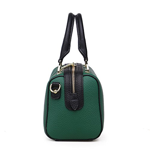 Litchi hombro hombro Bolso Boston Bolso de Bolso mano de cuero mujer de Green superior Patrón de de Bolso para de ffwv54