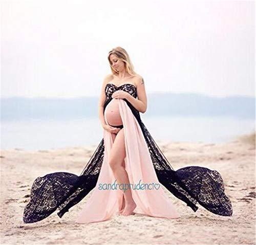 NUO-Z Vestido Largo de Maternidad Frontal Dividido Vestido Elegante para Embarazadas Hombros con Volantes Sesión de Fotos...