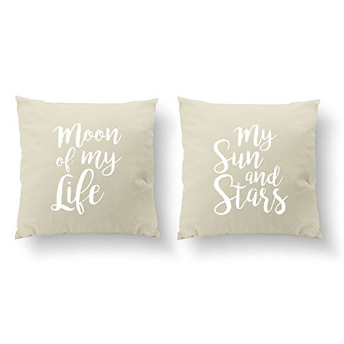 Moon Of My Life My Sun And Stars Pillow Covers, SET of 2 Pillowcase, Throw Pillow Cover, Wedding Gift, Him Pillowcase, Cushion Cover, Her Pillow Cover, Gold Pillowcase, 16x16 (Bed Dog Ikea Wicker)