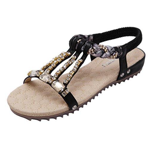ACMEDE Women Flat Sandals Round Toe Rhinestone Beaded Elastic T-Strap Summer Boho Beach Flip Flops Shoes Thongs Black