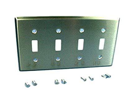 Cooper Antimicrobial Stainless Steel 4 Gang Switch Cover Toggle
