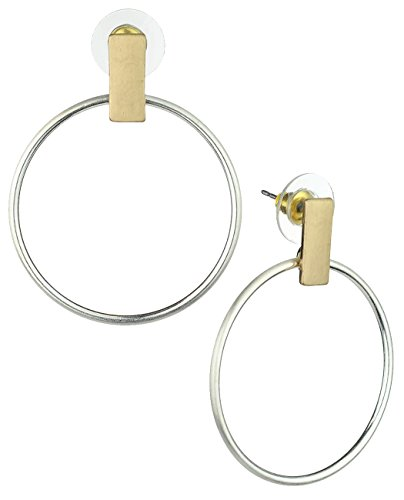 Hoop Dangle Pierced Earrings (Women's Flat Rectangle Bar Hoop Dangle Pierced Earrings, Satin Gold-Tone/Silver-Tone)